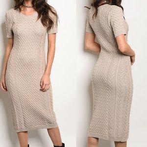 Dresses & Skirts - Midi Khaki Cotton Blend Cable Sweater Dress